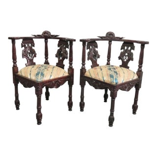 Victorian Style Mahogany Figural Carved Corner Chairs - a Pair For Sale