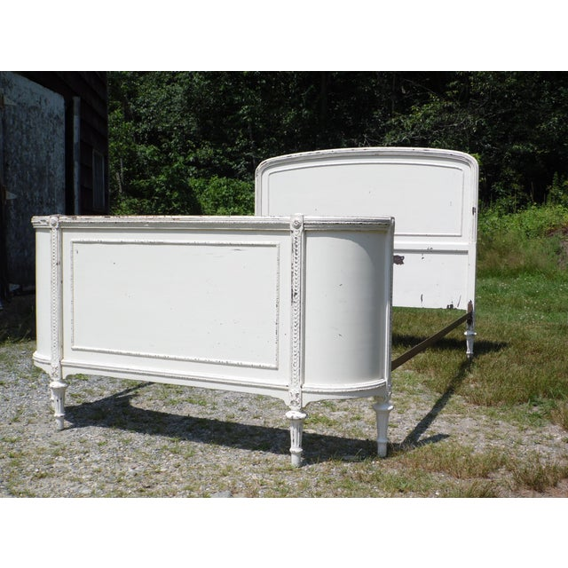 Antique Solid Wood White Painted Cottage Shabby Chic Double Full Bed C.1920's For Sale In Providence - Image 6 of 13