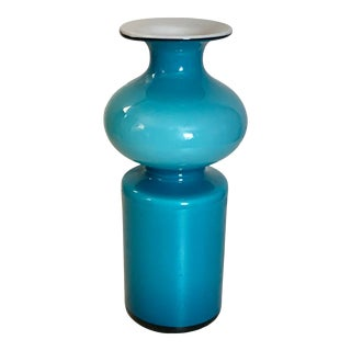 Modern Abstract Turquoise and White Two-Layer Glass Vase For Sale