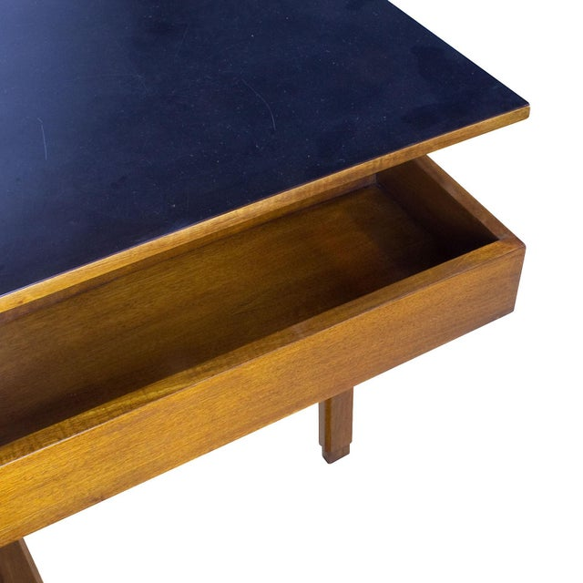 1970s Rationalist Desk by Pietro Bossi, Waxed Walnut, Brass, Formica - Italy For Sale - Image 12 of 13
