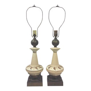 Gilded Beige Ceramic Hand Painted Foliate Lamps - A Pair For Sale
