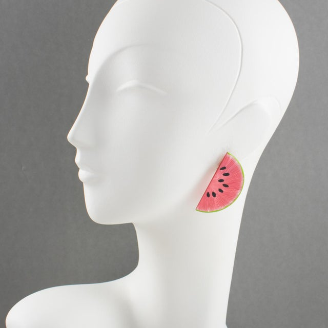 Want a slice of watermelon ??? Here comes stunning pierced earrings, featuring a slice of watermelon all shaped in...