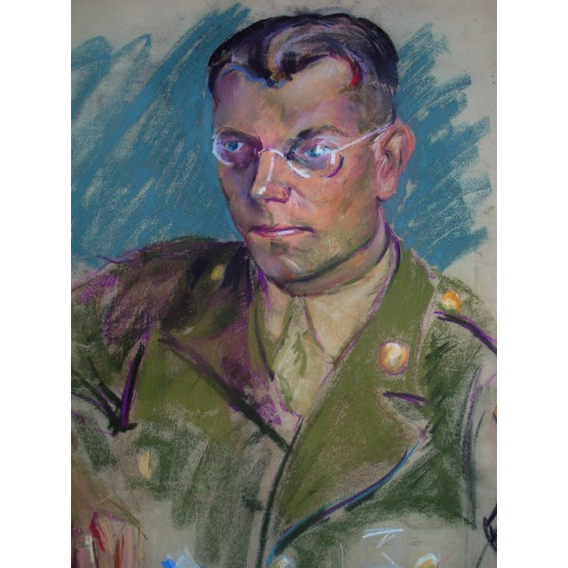 This is a striking casual rendering of a handsome World War II soldier in uniform. The artist has used rich teal blue as...