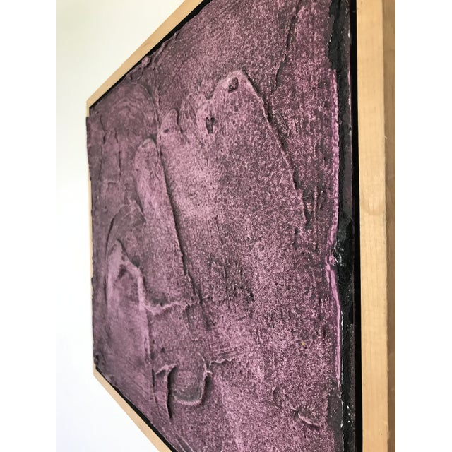 Vintage Mid-Century Modern Purple Abstract Plaster Wall Art Artwork For Sale - Image 6 of 7