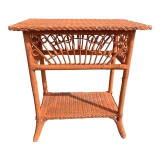 Polo Ralph Lauren Wicker Side Table For Sale