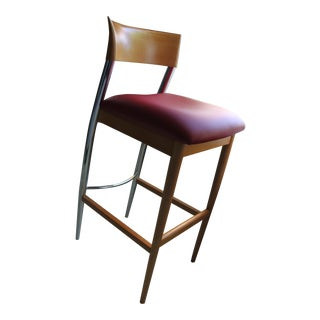 Contemporary Cherrywood and Red Vinyl Bar Stool