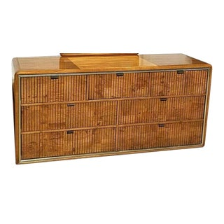 Vintage American of Martinsville Mid Century Modern Burl Wood Campaign Style Dresser For Sale