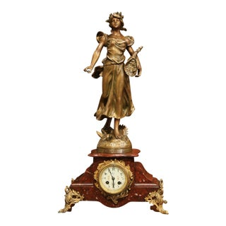 19th Century French Red Marble and Bronzed Spelter Mantel Clock After Guillemin For Sale