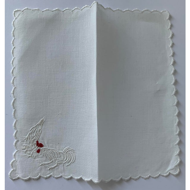 1950s Set of 6 Rooster & Hen Embroidered Cocktail Napkins For Sale - Image 5 of 7