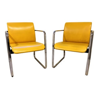 1970s Vintage Peter Protzman for Herman Miller Yellow Chrome Frame Chair For Sale