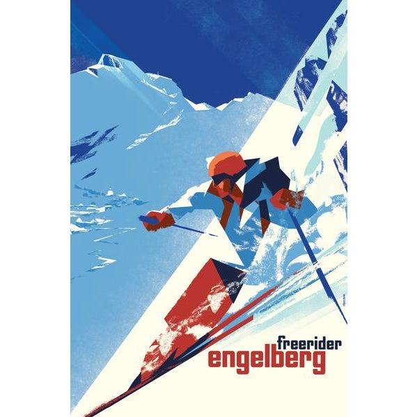 Mid-Century Modern 2016 Danish Modern Poster, Engelberg Winter For Sale - Image 3 of 3