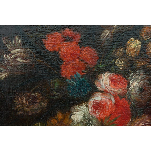 Black 19th Century Floral Still Life Oil Painting in Gold Frame For Sale - Image 8 of 9