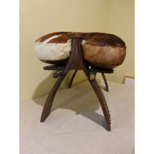 Antique Camel Saddle Stool With Cowhide Cover - Image 5 of 9