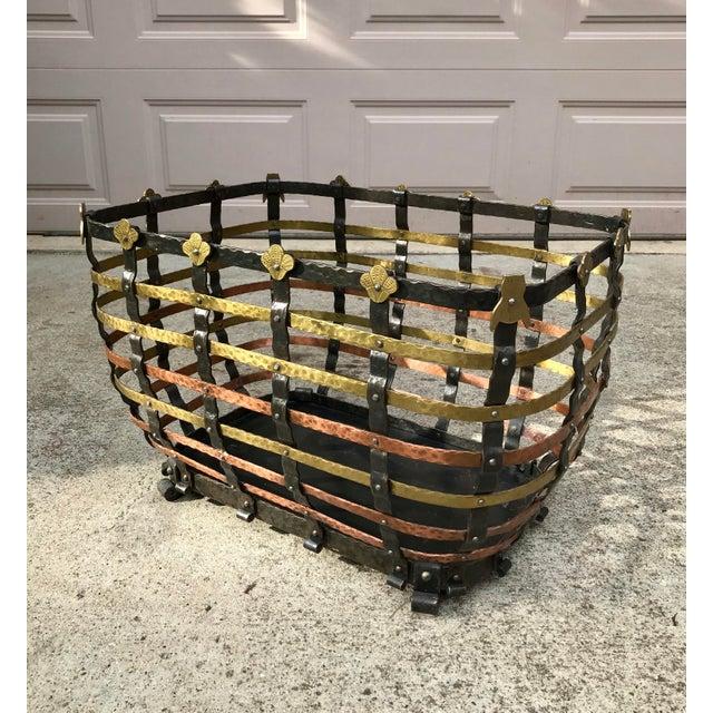Vintage Mid Century Antonio Vignola Italy Storage / Fire Wood Basket For Sale - Image 13 of 13