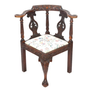 Chippendale Manner Claw & Ball Corner Chair For Sale