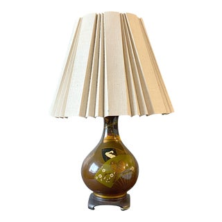 Vintage Maitland Smith Japanese Paper Fan Lamp For Sale