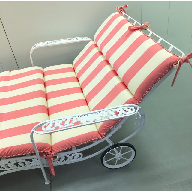 SUMMER SALE!!! 1950s grape motif double chaise outdoor lounger by Salterini. Fully restored and newly powder coated in a...