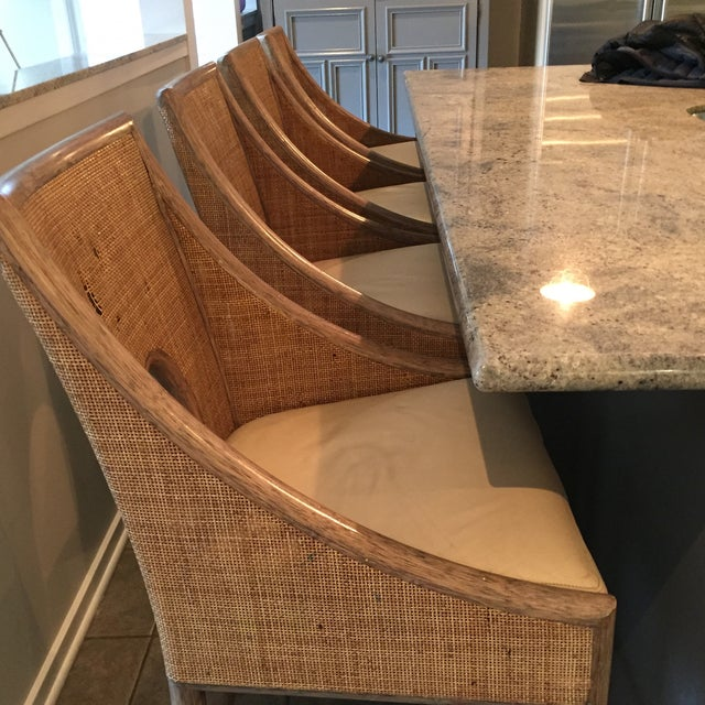 Leather Rattan Cane Counter Height Chairs - Set of 4 - Image 7 of 12