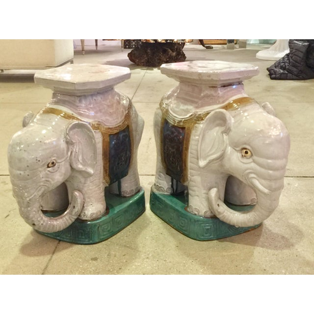 Ceramic Elephant Garden Stools - A Pair - Image 2 of 10