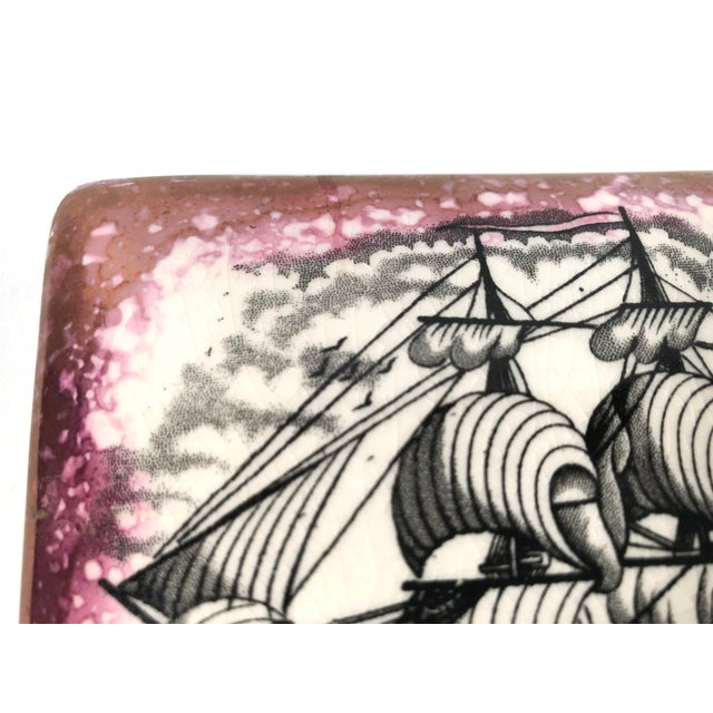 Black Staffordshire Sunderland Lustreware Porcelain Box With Sailor and Ship Theme For Sale - Image 8 of 12