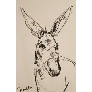 Donkey Original Charcoal Paper Sketch Drawing by Jose Trujillo For Sale
