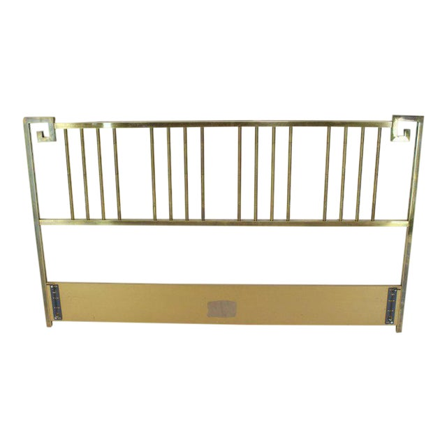 King Size Brass Headboard Bed by Mastercraft Greek Key Faux Bamboo For Sale