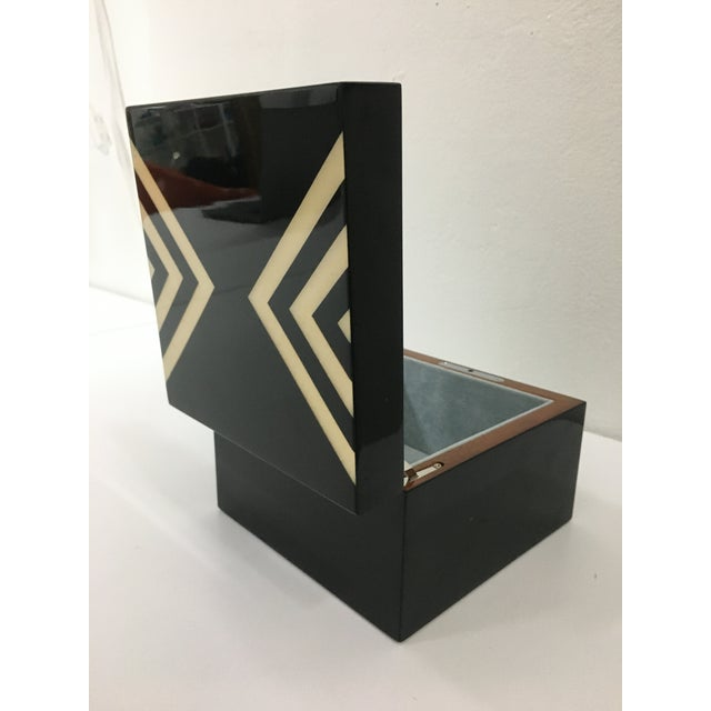 2000 - 2009 Ercolano Black Lacquer Box With Geometric Motif For Sale - Image 5 of 12