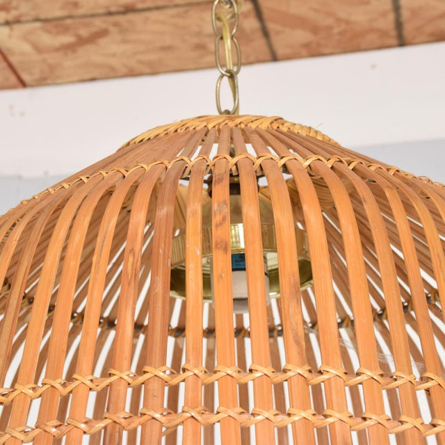 Mid-Century Modern Rattan Pendant Hanging Lamp For Sale In San Diego - Image 6 of 9