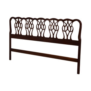 Thomasville Chippendale Style Mahogany King Headboard For Sale