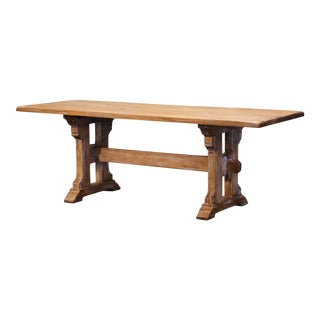 Mid-Century French Louis XIII Carved Bleached Oak Trestle Dining Table For Sale
