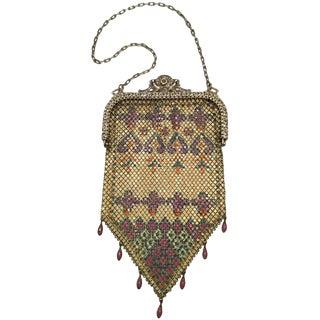 Mandalian Art Deco Chainmail Metal Bag With Enamel Bead Fringe, 1920s For Sale