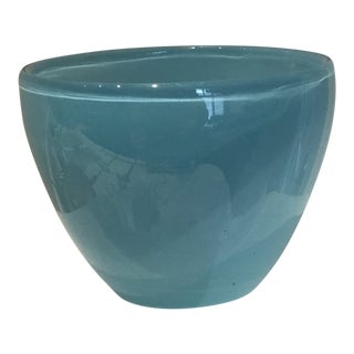 Hand Blown Cased Glass Robin Egg Blue Glass Bowl For Sale