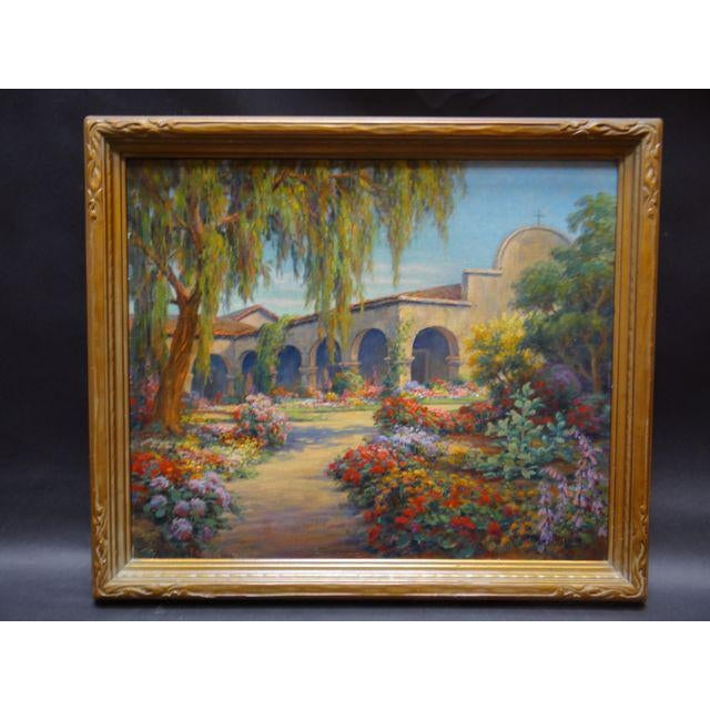 Early 20th Century Antique Marius Smith Mission Floral Landscape Painting For Sale - Image 9 of 9