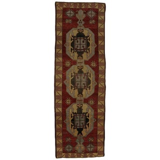 Vintage Turkish Oushak Runner, Gallery Rug with Mid-Century Modern Style For Sale