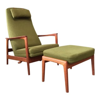 Folke Ohlsson Lounge Chair & Ottoman for Dux - Vintage Mid Century For Sale
