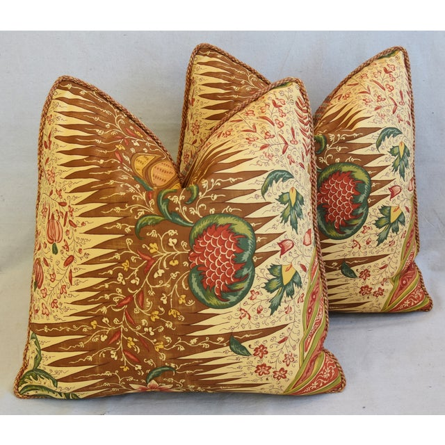 """French Pierre Frey La Riviere Feather/Down Pillows 21"""" Square - Pair For Sale - Image 11 of 12"""