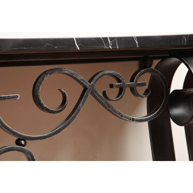 Marble Art Deco Wrought Iron Console For Sale - Image 7 of 10