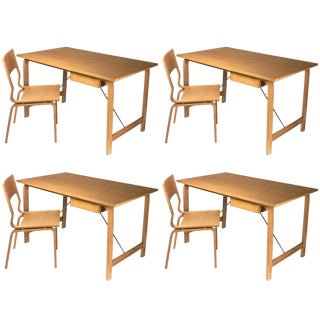 1960s Danish Modern Arne Jacobsen Desk and Chair Sets - 4 Sets For Sale