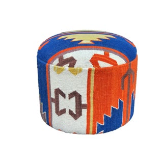 """Custom Made Ottoman With Turkish Kilim Upholstery 16.25"""" D by 16.25 """" H For Sale"""