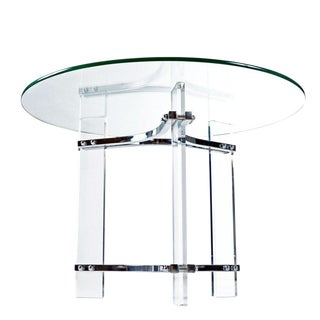 Charles Hollis Jones Acrylic Lucite and Chrome Cocktail Table With New Glass Top For Sale