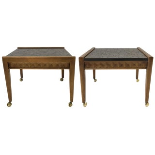Mid-Century Floral Incised Tables - A Pair