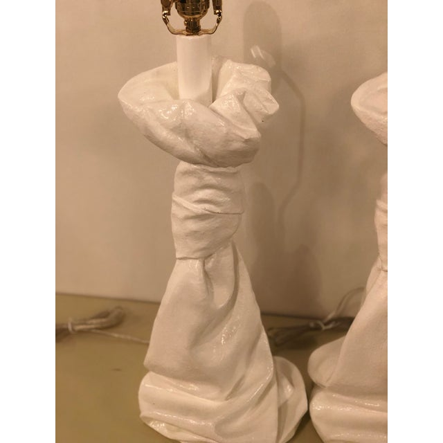 Vintage Hollywood Regency White Lacquered Plaster Brass Lucite Draped Table Lamps - A Pair For Sale - Image 11 of 13