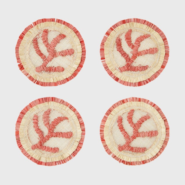 Textile Coral Straw Coasters, Set of 4 For Sale - Image 7 of 8