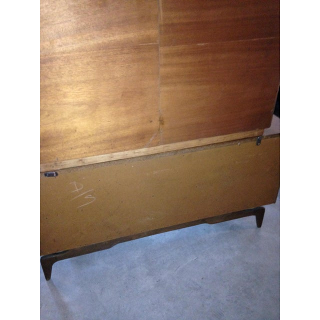 Mid-Century Etched Doors Teak Hutch Cabinet - Image 8 of 10