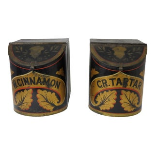 Antique American Hand Painted Tin Country Store Spice Boxes - a Pair For Sale