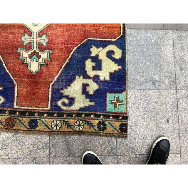1960s Vintage Turkish Oushak Floral Rug - 3′10″ × 8′3″ For Sale - Image 10 of 11
