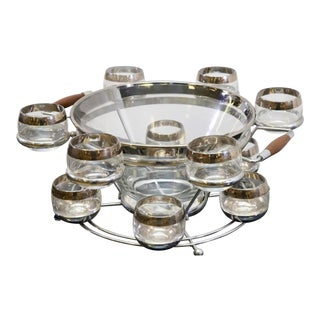 Mid-Century Modern Punch Bowl and Roly Poly Glasses - Set of 13 For Sale