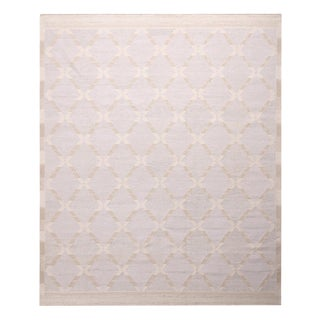 """Rug & Kilim's Scandinavian-Inspired Beige and Blue Natural Wool Pile Rug-8'1'x9'9"""" For Sale"""