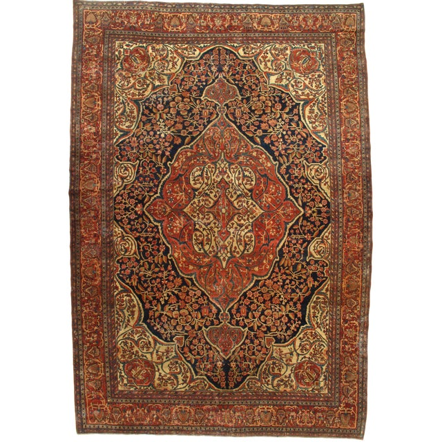 Late 19th Century Antique Persian Sarouk Farahan Rug - 8′5″ × 12′4″ For Sale In Washington DC - Image 6 of 6
