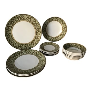 Vintage Brown Green Paisley Royal Ironstone Dinnerware - Set of 17 For Sale